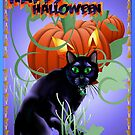 Black Cat and Glaring Pumpkin-lettered Poster by Lotacats