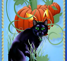 Black Cat and Glaring Pumpkin by Lotacats