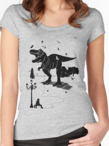 Playtime Dinosaur- Black Women's Fitted Scoop T-Shirt