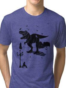 Playtime Dinosaur- Black Tri-blend T-Shirt