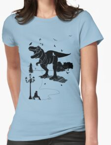 Playtime Dinosaur- Black Womens Fitted T-Shirt