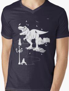 Playtime Dinosaur - White Mens V-Neck T-Shirt