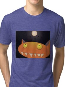 Funny orange monster on halloween night with Moon and bats Tri-blend T-Shirt