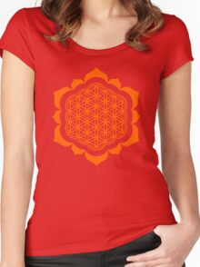 Flower of life - Lotus Flower, sacred geometry, Metatrons cube Women's Fitted Scoop T-Shirt