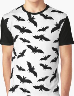 seamless pattern with black bats on white background Graphic T-Shirt