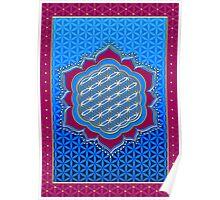 Flower of life, sacred geometry, Metatrons cube, symbol healing & balance   Poster