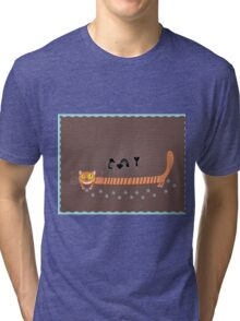 greeting card with a cat and three mouse Tri-blend T-Shirt