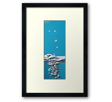 Water Droplets on Blue Background Framed Print