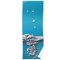 Water Droplets on Blue Background Poster