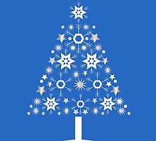 Christmas Tree Made Of Snowflakes On Blue Background by taiche