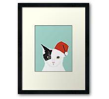 Tuxedo Cat Christmas Hat cute funny holiday cat lady gift idea Framed Print