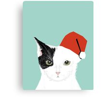 Tuxedo Cat Christmas Hat cute funny holiday cat lady gift idea Canvas Print