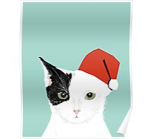 Tuxedo Cat Christmas Hat cute funny holiday cat lady gift idea Poster