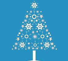 Christmas Tree Made Of Snowflakes On Cerulean Background by taiche