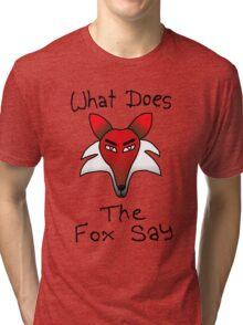 What Does The Fox Say (purple) Tri-blend T-Shirt