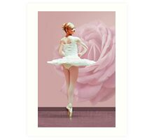 Ballerina in White with Pink Rose  Art Print