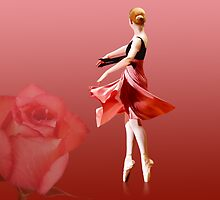 Ballerina On Pointe with Red Rose  by Delores Knowles