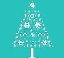 Christmas Tree Made Of Snowflakes On Jade Background by taiche