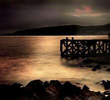Night Falling on Portencross Pier by George Crawford