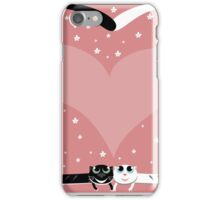 two love cat on wedding with heart and many flowers iPhone Case/Skin
