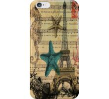 ocean seashells vintage eiffel tower postage fashion iPhone Case/Skin