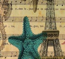 ocean seashells vintage eiffel tower postage fashion Sticker