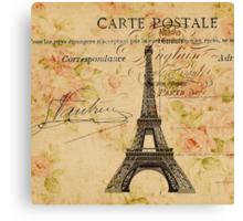 vintage floral paris eiffel tower fashion Canvas Print