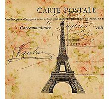 vintage floral paris eiffel tower fashion Photographic Print