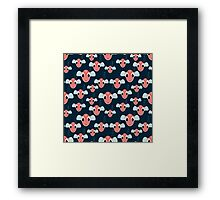 seamless pattern  with many red fishes  on sea Framed Print