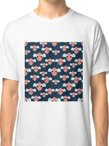 seamless pattern  with many red fishes  on sea Classic T-Shirt