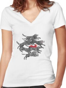 Run with the pack Women's Fitted V-Neck T-Shirt