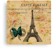 vintage butterfly paris eiffel tower fashion Canvas Print