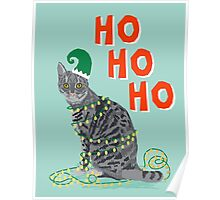 Funny Grey Cat merry christmas holiday office gift ideas for cat person  Poster