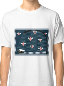 Cat with a many fish on sea background, vector Classic T-Shirt