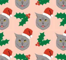 Christmas Cat mistletoe and holly cute cat pattern for pet lovers and cat ladies Sticker