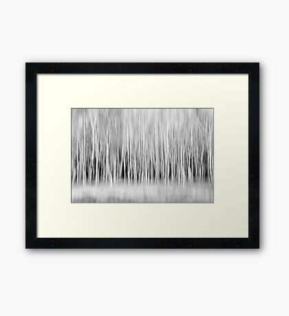 Forest Trees Abstract in Black and White Framed Print