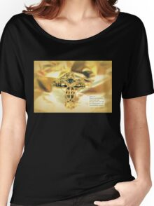 Christmas Greeting Card - The Cross and Bible Quote Women's Relaxed Fit T-Shirt