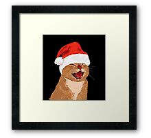 funny laughing cat with christmas hat Framed Print