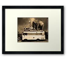 Barnum and Baileys Fabulous Road Trip Vacation Across The USA Circa 2013 5D22705 sepia with text Framed Print