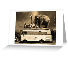 Barnum and Baileys Fabulous Road Trip Vacation Across The USA Circa 2013 5D22705 sepia with text Greeting Card