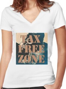 ' Tax Free Zone ' Women's Fitted V-Neck T-Shirt