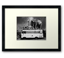 Barnum and Baileys Fabulous Road Trip Vacation Across The USA Circa 2013 5D22705 black and white with text Framed Print