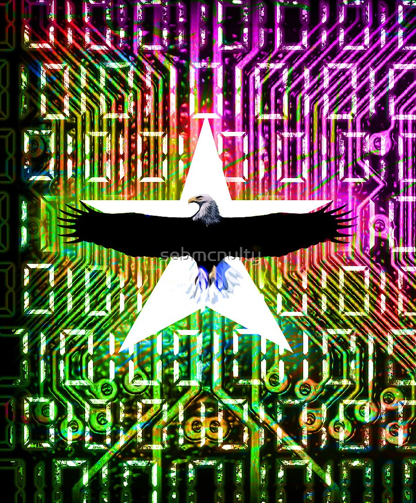 Bald eagle & digital Color mix by sebmcnulty