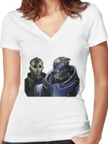Mass Effect - Thane and Garrus Women's Fitted V-Neck T-Shirt