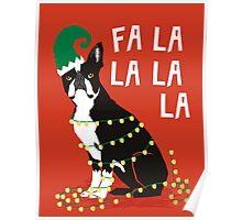 Cute Dog Christmas Gift santa pug boston terrier Poster