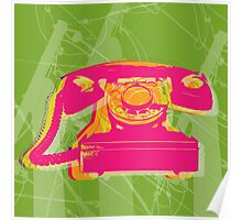 Rotary phone Pop Art print. Poster