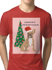 Cute Pug Christmas Tree funny dog art for small dog owners dog person gifts Tri-blend T-Shirt
