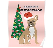 Cute Pug Christmas Tree funny dog art for small dog owners dog person gifts Poster