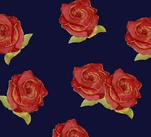 Stylish vintage floral print - red roses  by bardenne