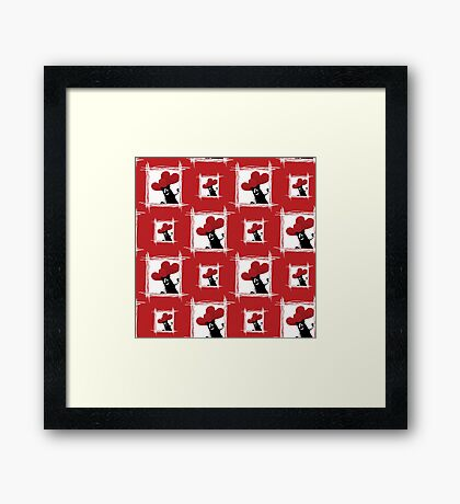 seamless pattern with friendly cartoon cat with ball of heart Framed Print